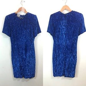 Stenay Vintage 80s Blue Silk Sequined Party Dress